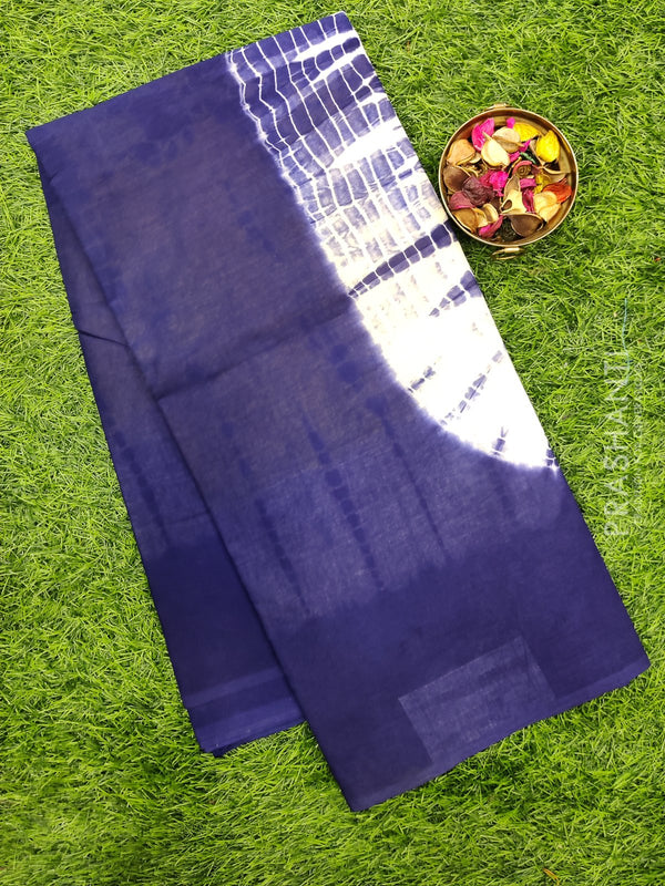 Jaipur cotton saree yellow blue with tie and dye