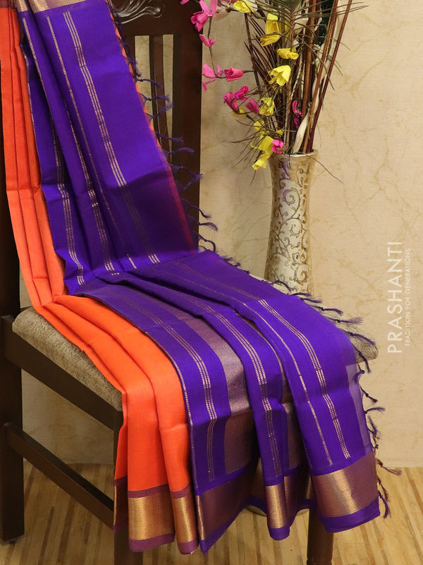 Silk cotton sarees orange and violet with rich zari woven border
