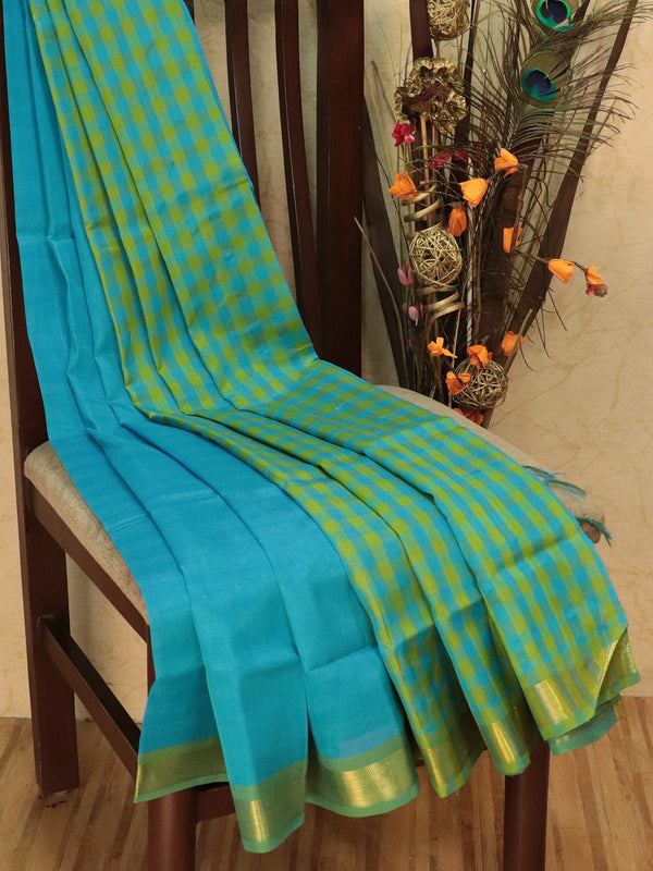 Silk cotton sarees lime green and cs b;lue checked pattern and simple zari border