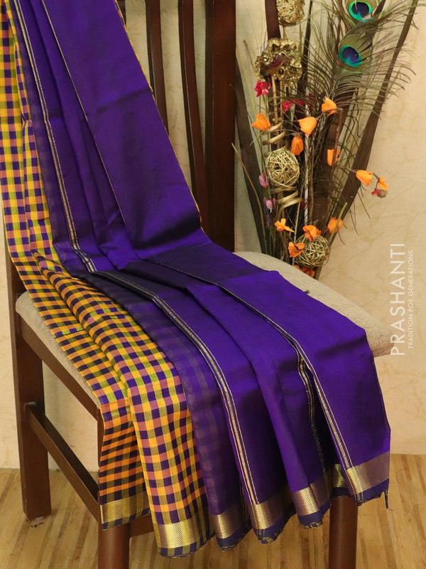 Silk cotton sarees mustard and violet checked pattern and simple zari border