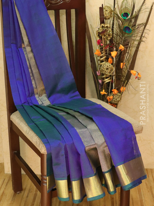 Silk cotton sarees dual shade of blue and green with kaddi zari border