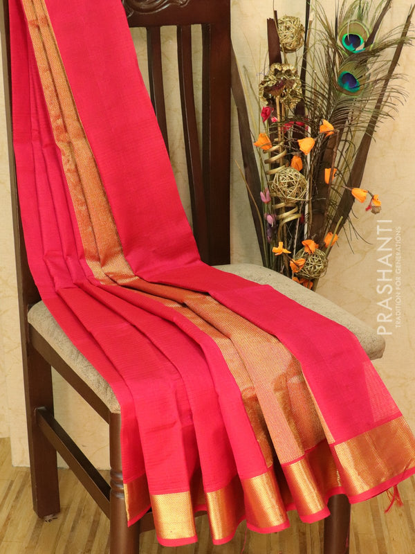 Silk cotton sarees pink with kaddi zari border