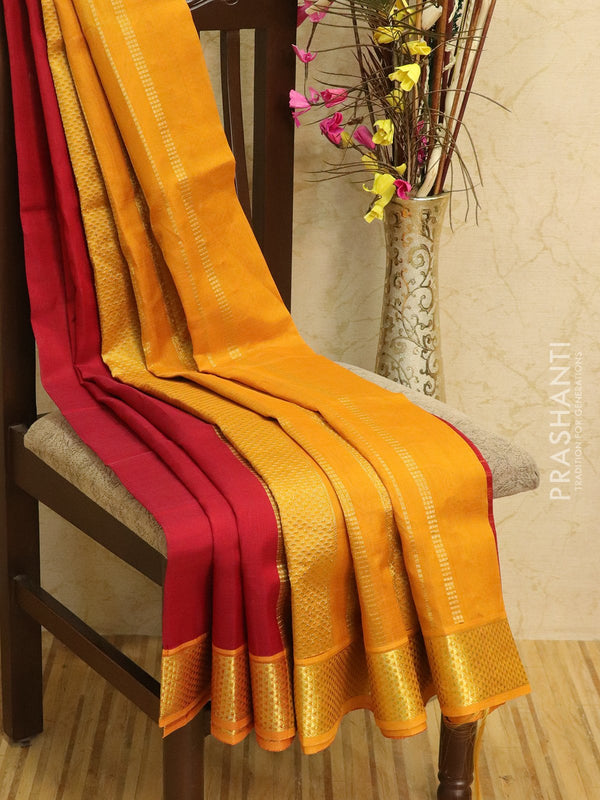 Silk cotton sarees maroon and mustard with rich zari woven border