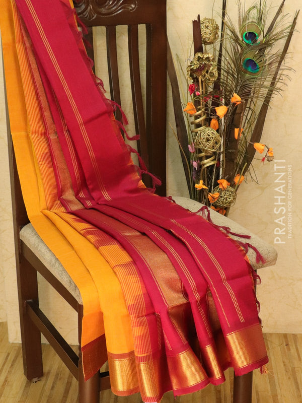 Silk cotton sarees mustard and maroon with rich zari woven border