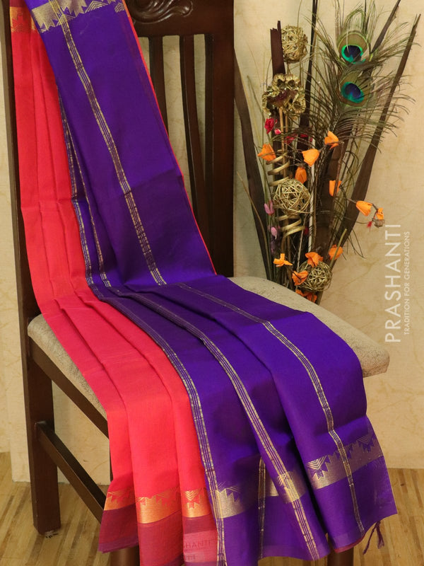 Silk cotton sarees pink and violet with simple zari woven border