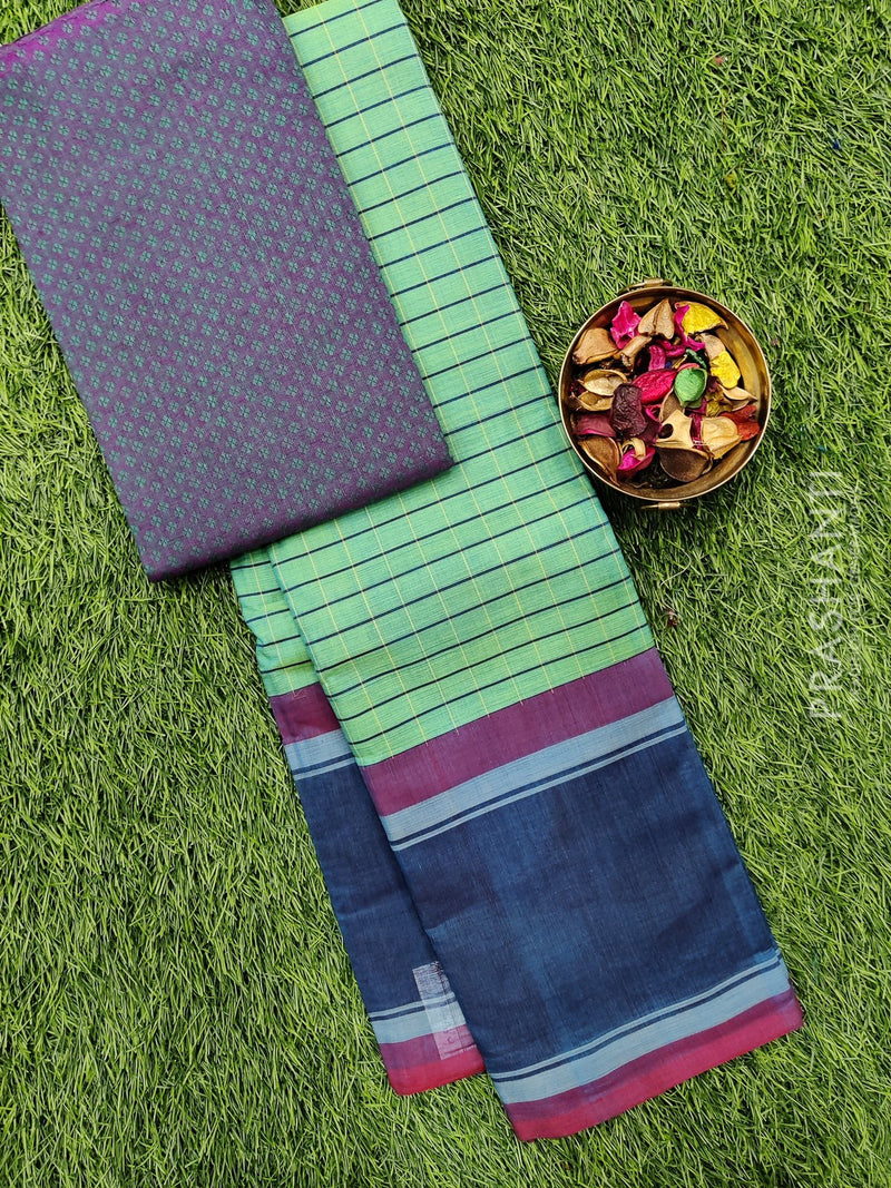 Chettinad cotton saree green and blue checked pattern with plain border and woven blouse