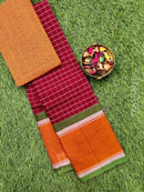 Chettinad cotton saree kumkum red and orange checked pattern with plain border and woven blouse