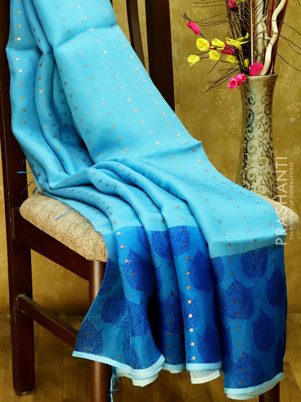 Organsa sarees sky blue and blue with leaf prints and seequin work with pipining border