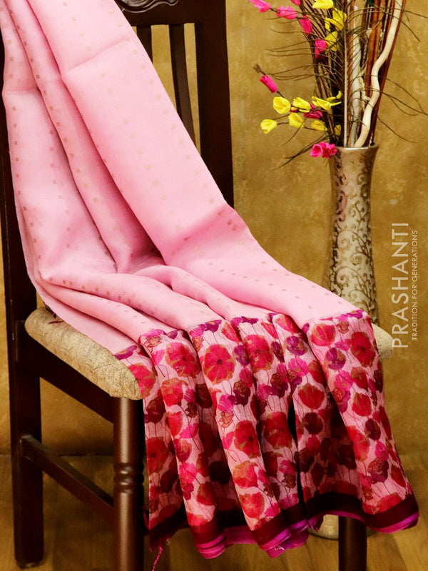 Organsa sarees pink and deep purple with all over floral prints and seequin work piping border