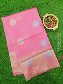 Semi Linen Saree pink with thread woven floral buttas and woven border