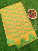 Semi Linen Saree yellow with thread and zari woven lines and temple style border