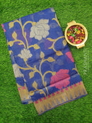 Semi Linen Saree blue with floral thread and zari weaving in borderless style