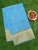 Semi Linen Saree blue with thread and zari woven buttas and woven border for Rs.Rs. 1990.00 | Semi linen by Prashanti Sarees