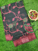 Semi Linen Saree black with thread woven floral weaves and woven border