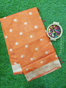Semi Linen Saree rust orange with thread woven lines and floral buttas with woven border