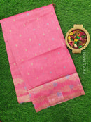 Semi Linen Saree pink with thread and zari woven small buttas with floral border