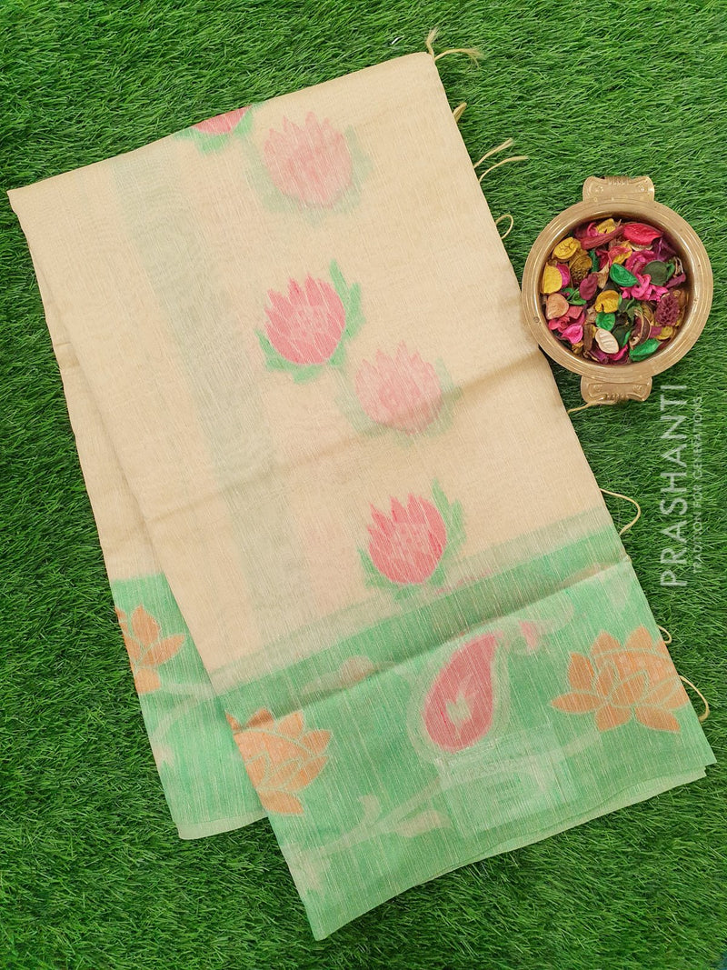 Semi Linen Saree sandal with thread woven floral buttas and woven border