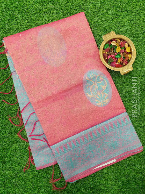 Semi Linen Saree pink with thread and zari weaves with woven border