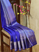 Pure Kanjivaram silk saree blue with silver zari floral buttas and rich zari woven elephant border