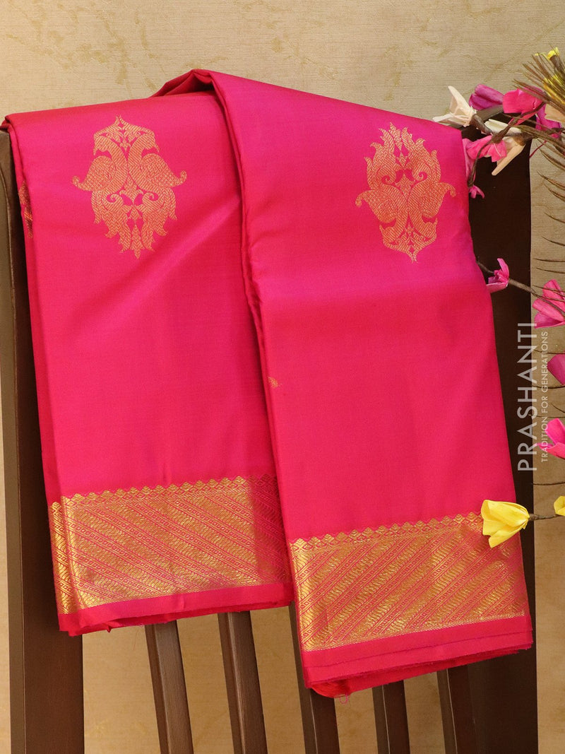 Pure Kanjivaram silk saree pink with traditional kanchi border and zari buttas