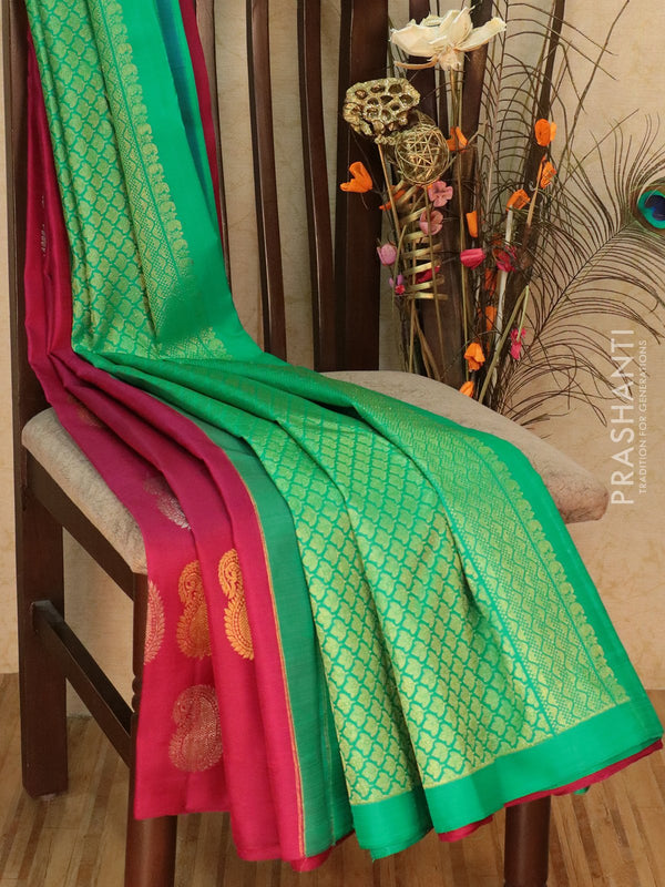 Pure Kanjivaram silk saree magenta and green with gold and silver zari paisley buttas in borderless style