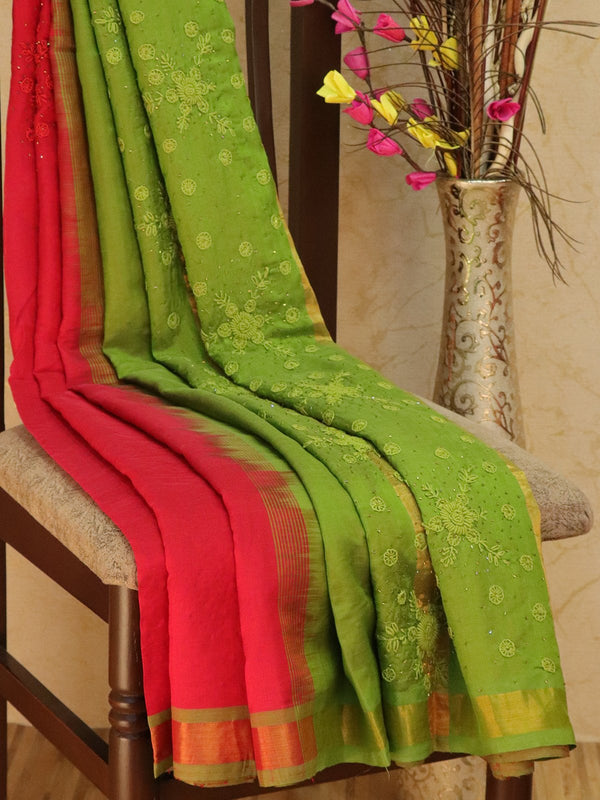 Silk Cotton saree red and green with hand embroidery and golden zari border