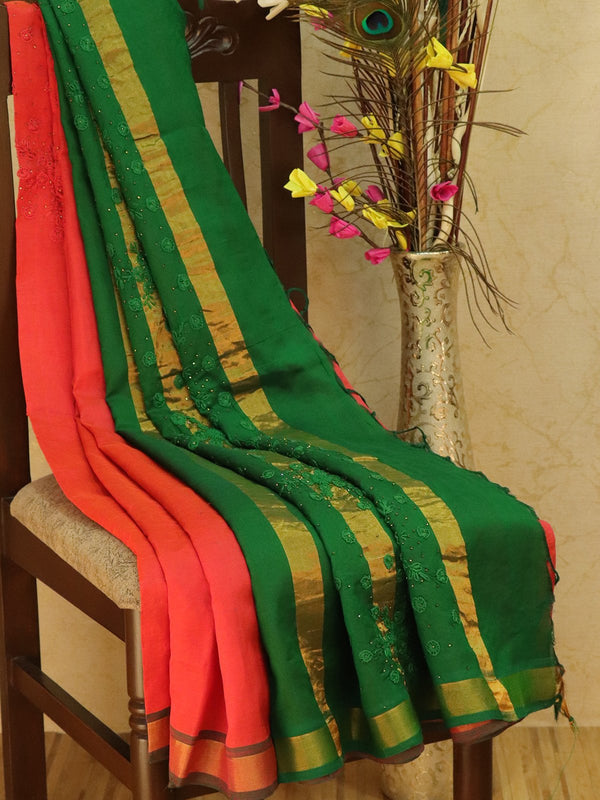 Silk Cotton saree peach pink and green with hand embroidery and golden zari border