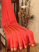 Silk Cotton saree peachish pink and green with hand embroidery and golden zari border
