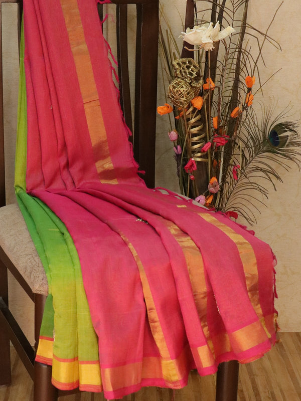 Silk Cotton saree green and pink with hand embroidery and golden zari border
