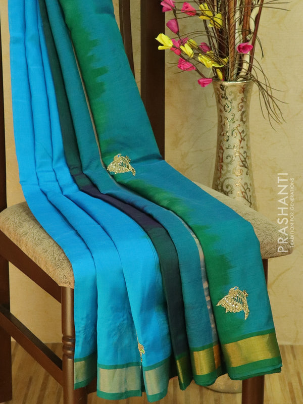 Silk Cotton saree cs blue and green with hand embroidery and golden zari border