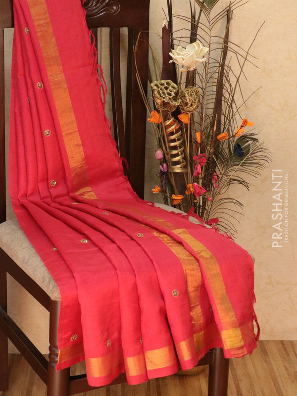 Silk Cotton saree red with hand embroidery and golden zari border