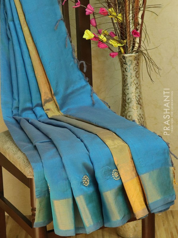 Silk Cotton saree blueish grey with hand embroidery and golden zari border