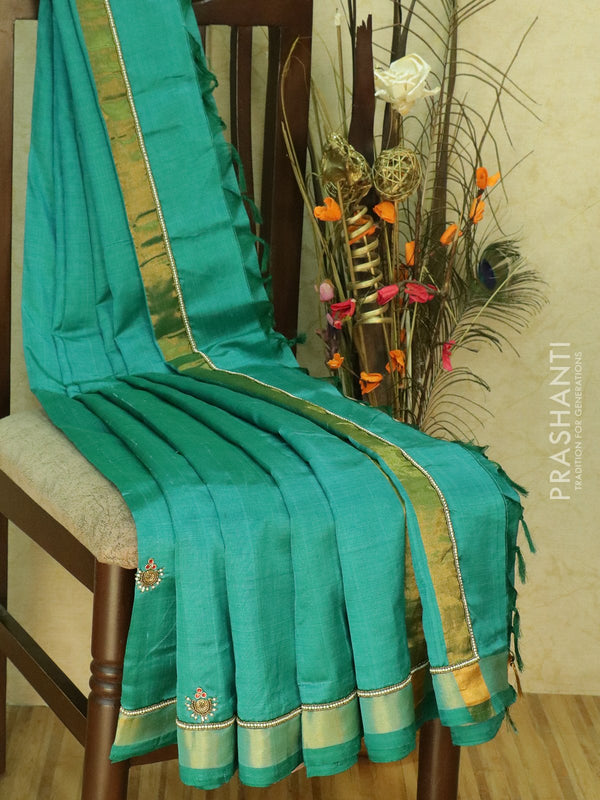 Silk Cotton saree peacock green with hand embroidery and golden zari border