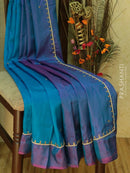 Silk saree blue and dual shade of purple with hand embroidery and zariless border