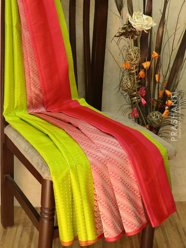 Pure Kanjivaram silk saree lime green and orange with 1000 buttas and piping border