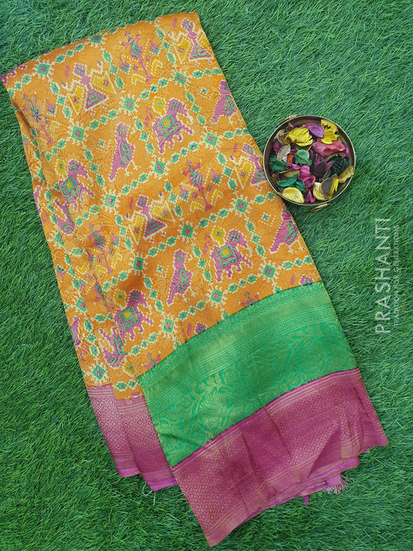 Semi silk saree mustard and pink with all over zari weaving and ikkat prints