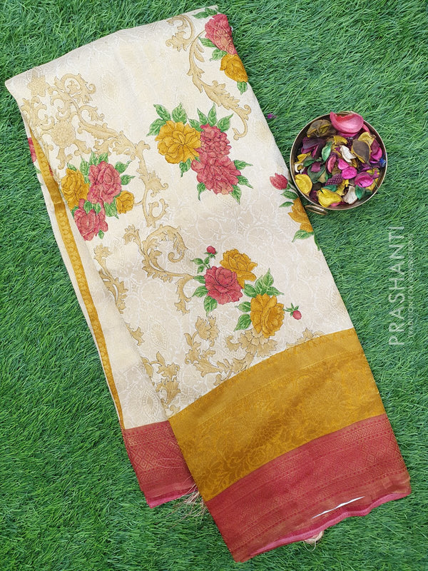 Semi silk saree beige and red with all over zari weaving and floral prints