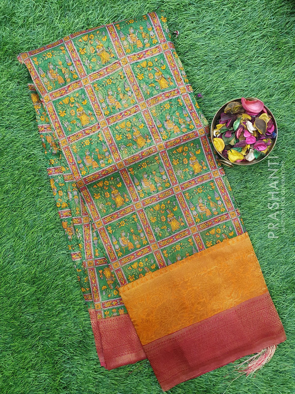 Semi silk saree green and red with all over zari weaving and madhubani prints