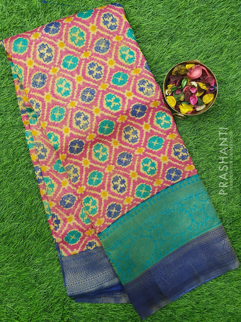 Semi silk saree pink and blue with all over zari weaving and ikkat prints