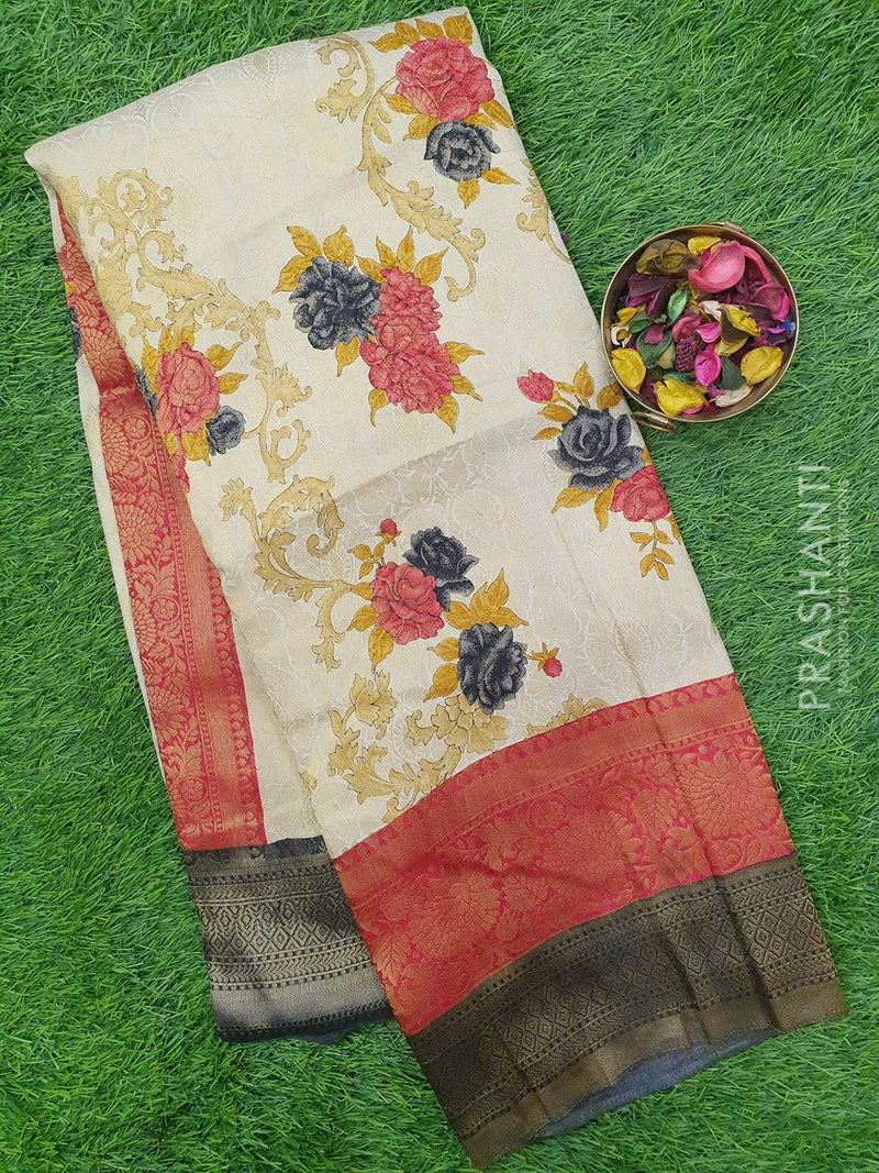 Semi silk saree beige and black with all over zari weaving and floral prints