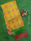 Semi silk saree mustard yellow and pink with rich zari weaving and all over prints