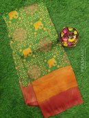 Semi silk saree green and pink with rich zari weaving and all over prints