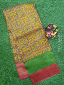 Semi silk saree mustard and pink with rich zari weaving and all over prints
