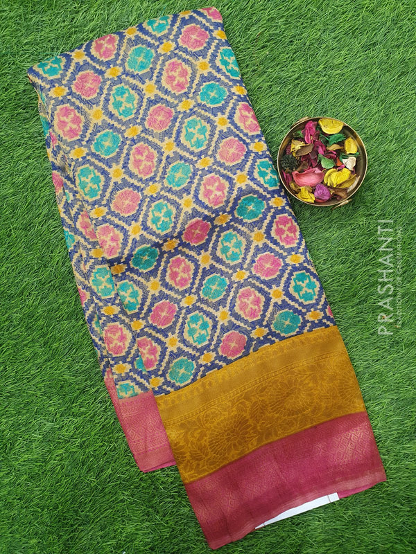 Semi silk saree blue and pink with rich zari weaving and all over prints