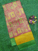 Semi silk saree pink and green with rich zari weaving and all over prints