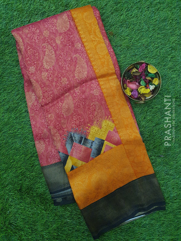 Semi silk saree pink and black with rich zari weaving and all over prints