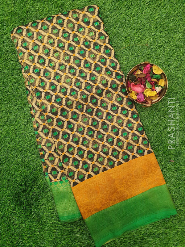 Semi silk saree black and green with rich zari weaving and all over prints