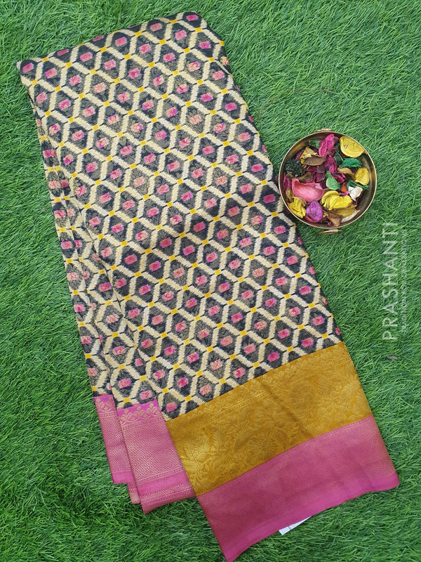 Semi silk saree black and pink with rich zari weaving and all over prints