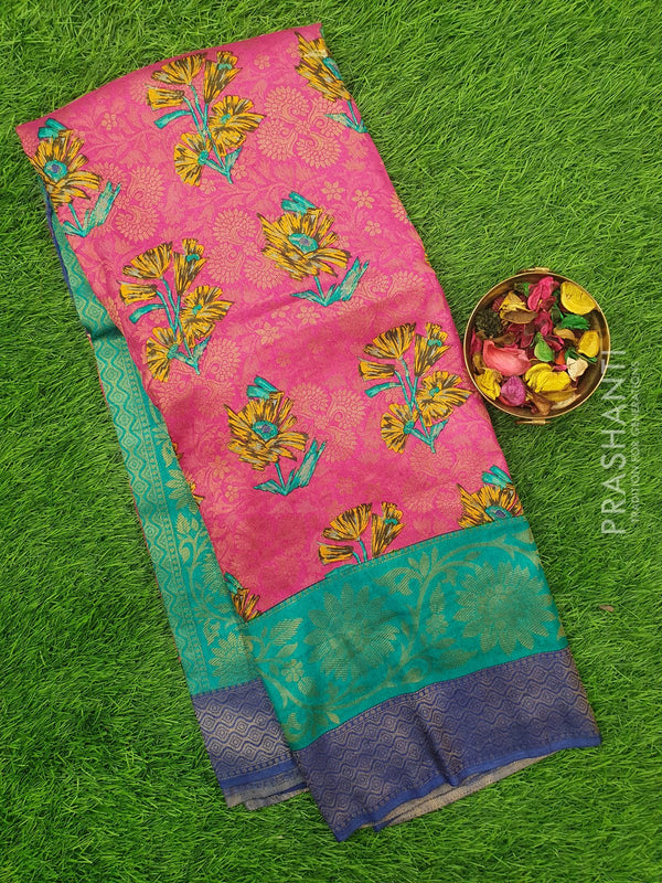 Semi silk saree pink and blue with rich zari weaving and all over prints