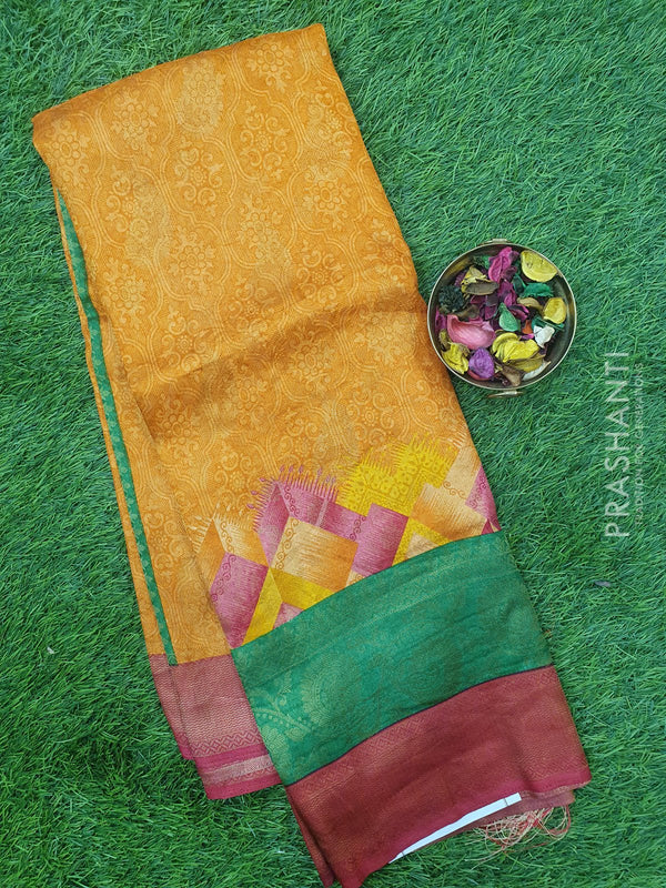 Semi silk saree orange and pink with rich zari weaving and all over prints